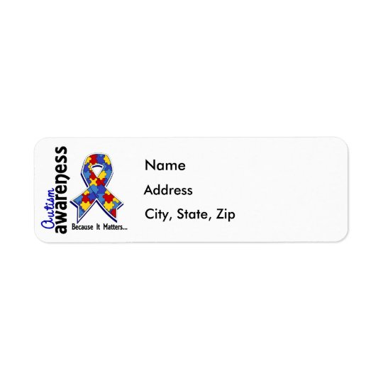 Autism Awareness 5 Return Address Label