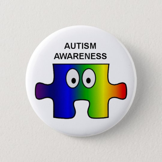 AUTISM AWARENESS AND SUPPORT 6 CM ROUND BADGE