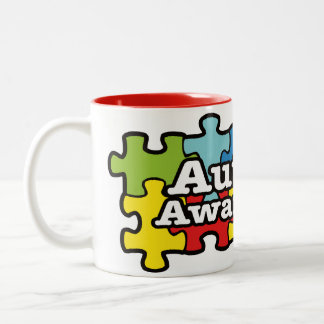 Autism Awareness Banner Two-Tone Coffee Mug