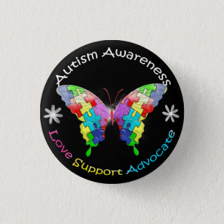 Autism Awareness Butterfly 3 Cm Round Badge