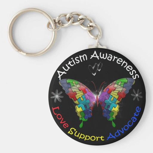 Autism Awareness Butterfly Key Chain