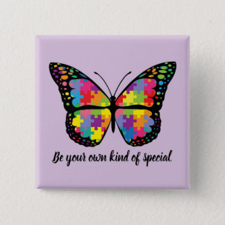 Autism Awareness Butterfly Puzzle Piece 15 Cm Square Badge