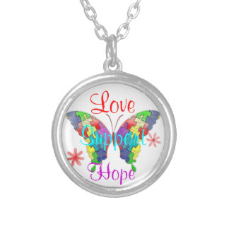Autism Awareness Butterfly Silver Plated Necklace