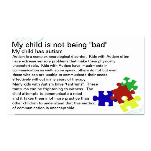 Autism Awareness card Business Card Template