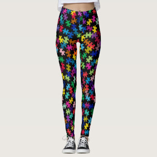 Autism Awareness Colorful Puzzle Piece Leggings