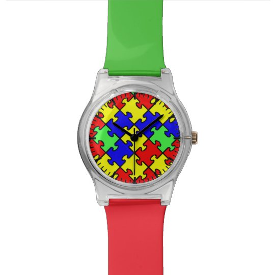 Autism Awareness Colourful Puzzle Watch