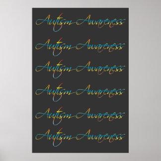 Autism Awareness Dark Grey Poster