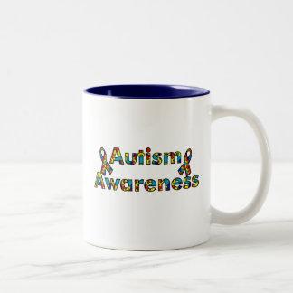 Autism Awareness - Double Ribbon Two-Tone Mug