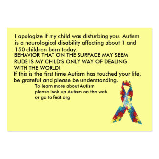 Autism Awareness Explanation Cards - Customised Pack Of Chubby Business Cards