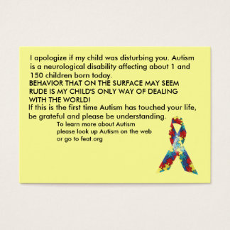 Autism Awareness Explanation Cards - Customized