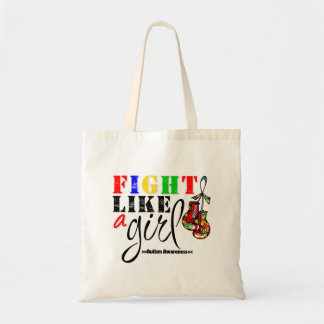 Autism Awareness Fight Like a Girl Canvas Bags