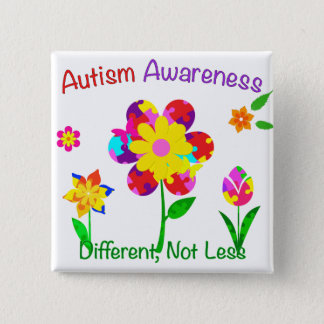 Autism Awareness Flowers 15 Cm Square Badge