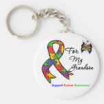 Autism Awareness For My Grandson Basic Round Button Key Ring