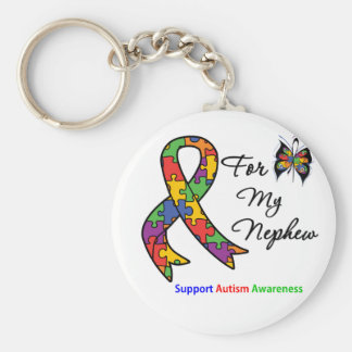 Autism Awareness For My Nephew Basic Round Button Key Ring