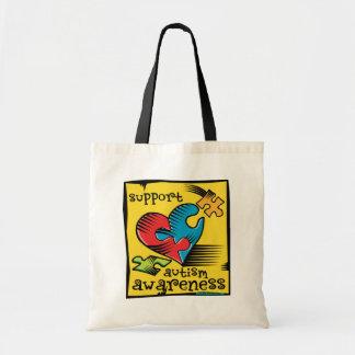 Autism Awareness Heart Puzzle Pieces Budget Tote Bag