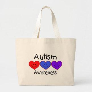 Autism Awareness (Hearts) Large Tote Bag