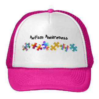 Autism Awareness Hot Pink White Hats