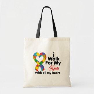 Autism Awareness I Walk For My Hero Canvas Bag