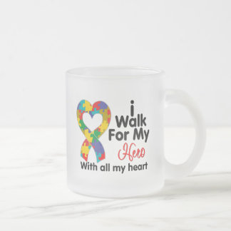 Autism Awareness I Walk For My Hero Frosted Glass Mug