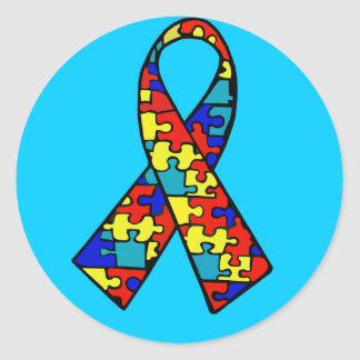 Autism Awareness Jigsaw Puzzle Ribbon Products Round Sticker