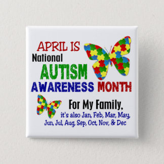 AUTISM AWARENESS MONTH APRIL 15 CM SQUARE BADGE