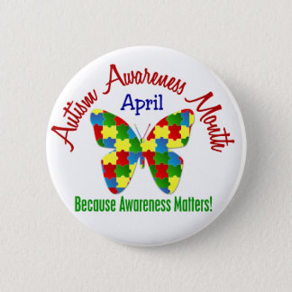 AUTISM AWARENESS MONTH APRIL Puzzle Butterfly 6 Cm Round Badge
