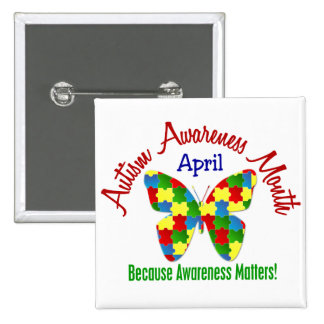 AUTISM AWARENESS MONTH APRIL Puzzle Butterfly Pinback Button