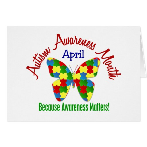 AUTISM AWARENESS MONTH APRIL Puzzle Butterfly Greeting Cards