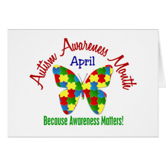 AUTISM AWARENESS MONTH APRIL Puzzle Butterfly Greeting Card