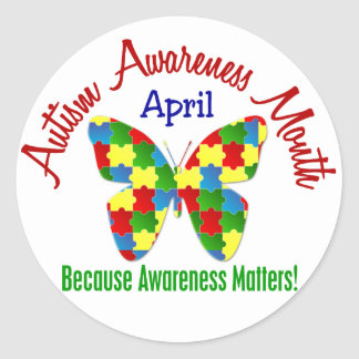 AUTISM AWARENESS MONTH APRIL Puzzle Butterfly Round Sticker