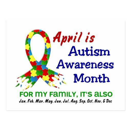 AUTISM AWARENESS MONTH EVERY MONTH POSTCARDS