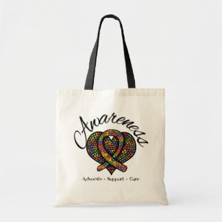 Autism Awareness Mosaic Heart Tote Bags