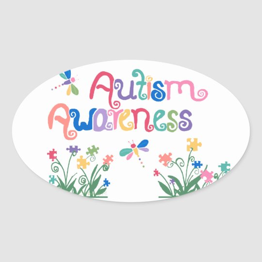 Autism Awareness on White oval stickers