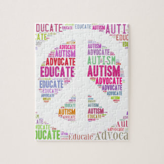 Autism Awareness Peach Products Jigsaw Puzzle