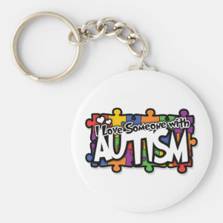 Autism Awareness Puzzle Basic Round Button Key Ring