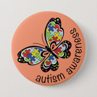 Autism Awareness Puzzle Butterfly 7.5 Cm Round Badge