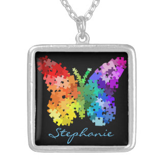 Autism Awareness Puzzle Butterfly Necklace