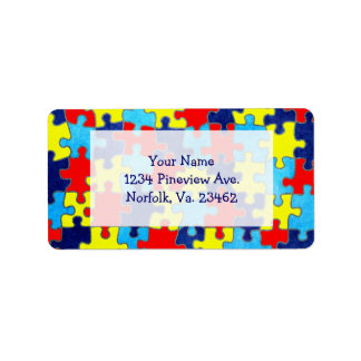 Autism Awareness-Puzzle by Shirley Taylor Address Label