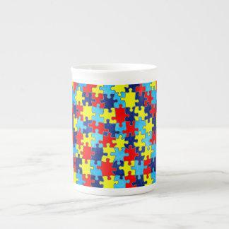 Autism Awareness-Puzzle by Shirley Taylor Bone China Mug