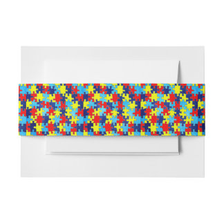 Autism Awareness-Puzzle by Shirley Taylor Invitation Belly Band