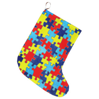 Autism Awareness-Puzzle by Shirley Taylor Large Christmas Stocking