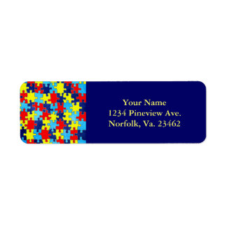 Autism Awareness-Puzzle by Shirley Taylor Return Address Label