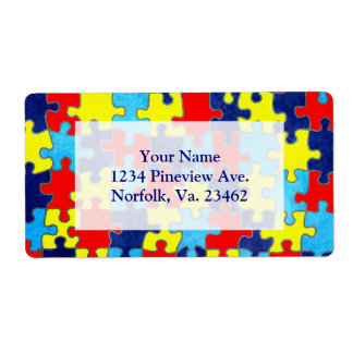 Autism Awareness-Puzzle by Shirley Taylor Shipping Label