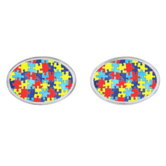 Autism Awareness-Puzzle by Shirley Taylor Silver Finish Cufflinks