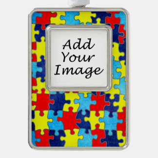 Autism Awareness-Puzzle by Shirley Taylor Silver Plated Framed Ornament