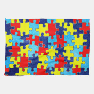 Autism Awareness-Puzzle by Shirley Taylor Tea Towel