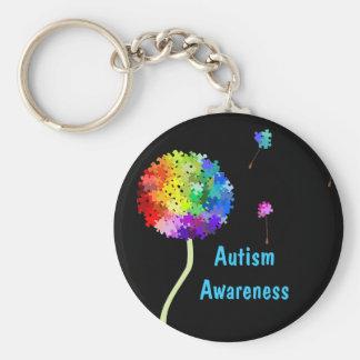 Autism Awareness Puzzle Dandelion Keychain