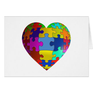 Autism Awareness Puzzle Heart Greeting Card