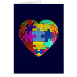 Autism Awareness Puzzle Heart Greeting Card