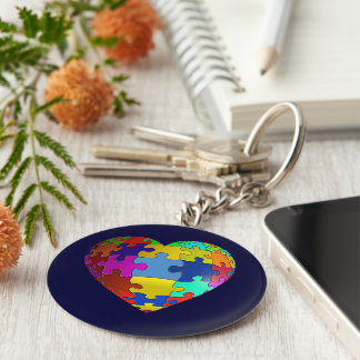 Autism Awareness Puzzle Heart Key Ring